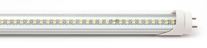 L?mpadas, tira e projetor do diodo emissor de luz no fundo branco fotografia de stock royalty free