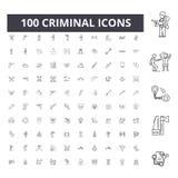 L?nea criminal iconos, muestras, sistema del vector, concepto del ejemplo del esquema stock de ilustración