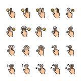 L?nea de color sistema del icono de los gestos del tacto libre illustration