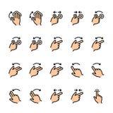 L?nea de color sistema del icono de los gestos del tacto ilustración del vector