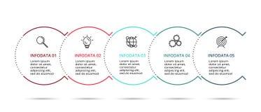 L?nea elemento fina para infographic Plantilla para el diagrama, el gr?fico, la presentaci?n y la carta Concepto con 5 opciones stock de ilustración