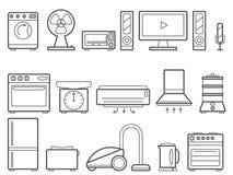 L?nea fina iconos del vector de los aparatos electrodom?sticos fijados Colecci?n moderna del pictograma del esquema libre illustration