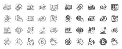 L?nea iconos de Cryptocurrency El sistema de Blockchain, ICO Crypto empieza para arriba y Bitcoin Vector ilustración del vector