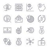 L?nea iconos de Cryptocurrency fijados Colecci?n del vector de s?mbolos finos de las finanzas de Bitcoin del esquema Movimiento E stock de ilustración