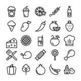 L?nea iconos de la comida ilustración del vector