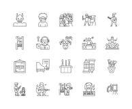 L?nea iconos, muestras, sistema del vector, concepto del artista del ejemplo del esquema libre illustration