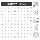 L?nea iconos, muestras, sistema del vector, concepto de la encuesta del ejemplo del esquema ilustración del vector