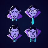 L?nea plana estilo del vampiro de Dr?cula del car?cter de Halloween El ejemplo del vector del icono del vampiro del hombre aisl? libre illustration