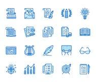 L?nea plana sistema de Copywriting de los iconos Texto que mecanograf?a del escritor, contenido social de los medios, hoja inform libre illustration