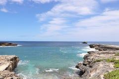 L?nea rocosa de punto de Leie, una atracci?n tur?stica popular de la costa en la orilla del norte de Oahu, Hawaii imagen de archivo