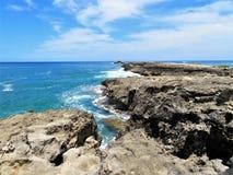 L?nea rocosa de punto de Leie, una atracci?n tur?stica popular de la costa en la orilla del norte de Oahu, Hawaii foto de archivo libre de regalías