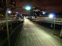 L.A. at night. Downtown Los Angeles street and ramps late at night Royalty Free Stock Photos