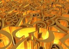 L'or numérote le fond Image libre de droits
