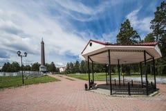 L'obelisco sul confine di Europa - l'Asia vicino ad Ekaterinburg Fotografia Stock