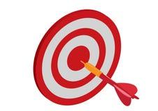 L'obiettivo con la freccia, scopo raggiunge il concetto illustrazione di vettore nel fondo bianco Immagini Stock