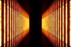 l'obscurité du rendu 3D a illuminé le couloir de la lampe au néon rouge Lampe au néon futuriste élégante sur le mur Images libres de droits