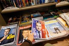 L ` Obse okładka magazynu z Emmanuel Macron na pokrywie Obraz Stock