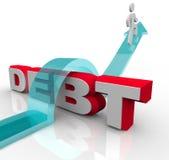 L'obtention au-dessus de la dette surmontent la crise financière de problème Photographie stock libre de droits