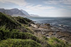 L'océan et la côte aménagent en parc en Hermanus, Afrique du Sud photographie stock libre de droits