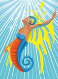 L'océan et les sirènes, illustration Photo libre de droits