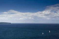 L'océan ouvrent 2 bateaux Images stock