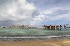 L'océan pacifique de passage couvert de surfers Image stock