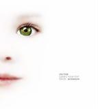 L'occhio del bambino con la bandiera brasiliana Fotografie Stock Libere da Diritti