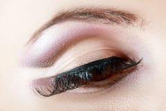 L'occhio della donna con naturale compone Fotografia Stock Libera da Diritti