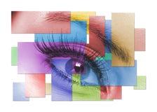 L'occhio femminile a macroistruzione Immagini Stock Libere da Diritti