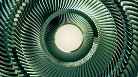 L'occhio verde girante muoventesi della catena del metallo del liquido circonda la nuova qualità del ciclo di animazione 3d di mo illustrazione vettoriale
