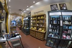 L'Occitane en Provence shop in Fuencarral street. Madrid, March. 11th, 2018. Spain. Wide-angle view of the inside of the store Stock Photography
