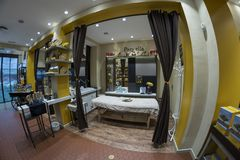 L'Occitane en Provence shop in Fuencarral street. Madrid, March. 11th, 2018. Spain. Wide-angle view of the inside of the store Royalty Free Stock Photo