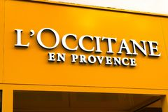 L`OCCITANE Logo on facade. Wiesbaden, Germany - June 03 2018: L`OCCITANE logo on a facade. L`occitane en Provence is an international retailer of body, face royalty free stock images