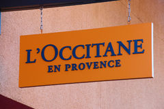 L`Occitane Logo On Store Front Sign. LAS VEGAS, NEVADA - October 11, 2016: L`Occitane Logo On Store Front Sign in the famous Premium outlet North at Las Vegas,NV royalty free stock photo