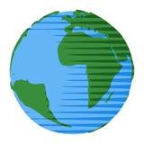 L'Oceano Atlantico e l'Africa sul mondo di terra per l'icona o il concetto astratto illustrazione vettoriale