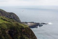 L'Oceano Atlantico ondeggia la terra del Portogallo Azzorre della natura dell'isola vulcanica Fotografia Stock
