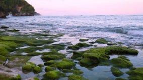 L'oceano calmo all'alba, piccole onde lava sopra le rocce sulla spiaggia con le montagne nei precedenti archivi video
