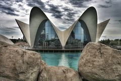 L'Oceanografic. Is a world famous water zoo in Valencia, Spain, designed by Santiago Calatrava stock photography