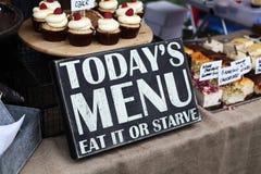 L'odierno menu mangia Fotografia Stock Libera da Diritti