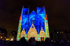 L ` Odyssée des Rêves het geluid en het licht tonen in Nantes Stock Foto's