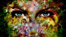 L'oeil bleu mystique fait en peinture coloré éclabousse photo stock