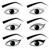 L'oeil composent la technique avec l'utilisation de l'eye-liner dans la méthode d'instruction 2, icônes noires et blanches simple Photo stock