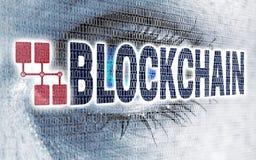 L'oeil de Blockchain avec la matrice regarde sur le concept de visionneuse photo libre de droits