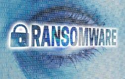 L'oeil de Ransomware avec la matrice regarde le concept de visionneuse Photo stock