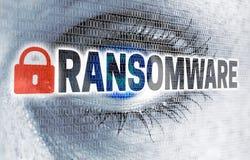 L'oeil de Ransomware avec la matrice regarde le concept de visionneuse Images stock