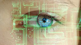 L'oeil humain avec les circuits électroniques et les symboles projetant dans lui, le concept de futures technologies banque de vidéos