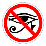 L'oeil tout-voyant de l'interdiction, le signe interdit nouvel par ordre mondial illustration libre de droits