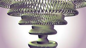 L'oeil vert tournant en mouvement de chaîne en métal de fluide entoure la nouvelle qualité de boucle de l'animation 3d de mouveme illustration de vecteur