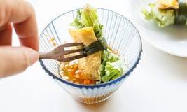 L'oeuf au plat a roulé avec le légume frais - hanh de cuon Image stock