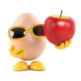 l'oeuf 3d tient une pomme illustration libre de droits